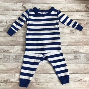 Hanna Andersson blue and white striped pajamas